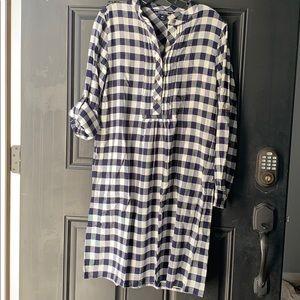 Lands end blue plaid flannel dress